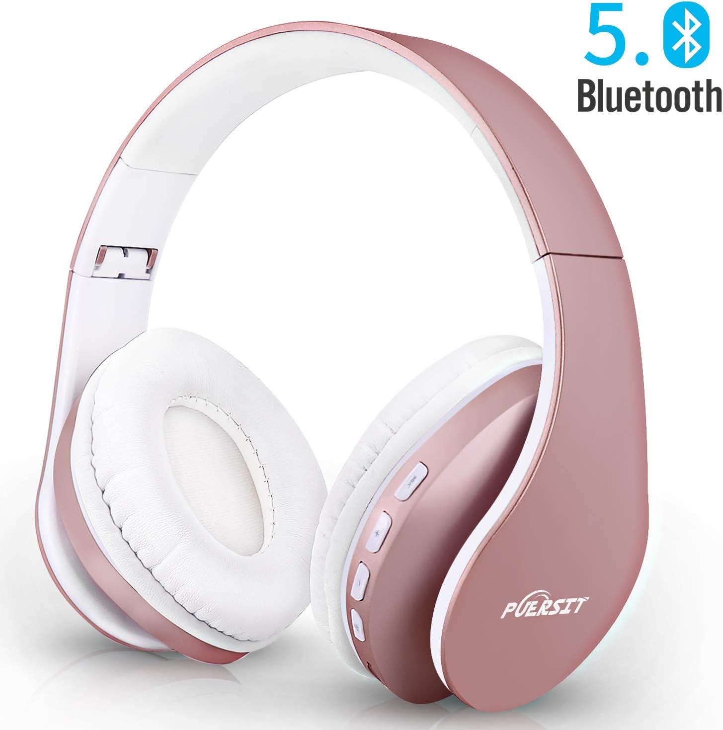 Puersit Auriculares Bluetooth con Micrófono, Plegable Hi-Fi Sonido Estéreo Inalámbricos Cascos para Tableta, Movil, TV Inteligente con Bluetooth
