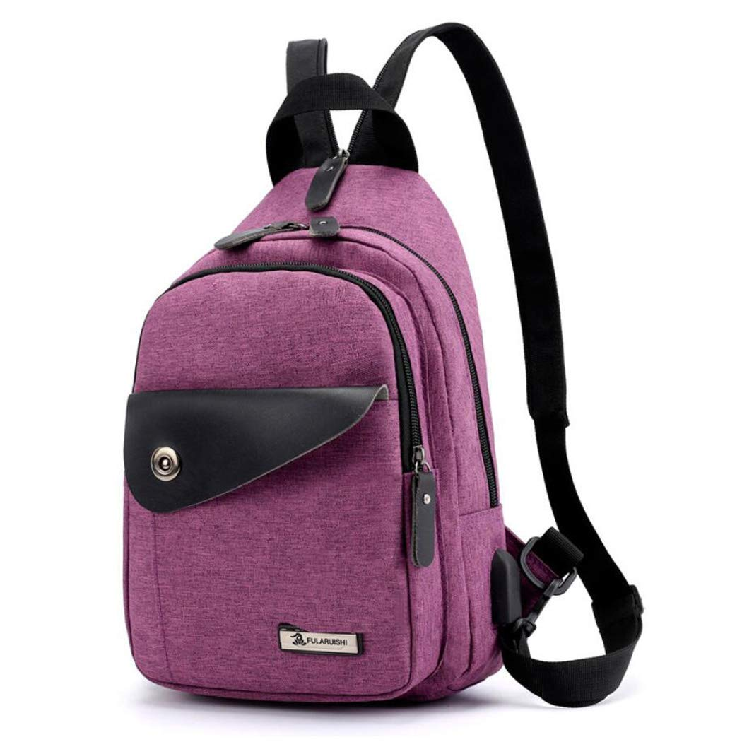 Purple One Size Sling Bag Chest Shoulder Backpack Crossbody Bags for Men Women Travel Outdoors Business Student Backpack Casual Outdoor Messenger Bag Men's Sports Chest Bag