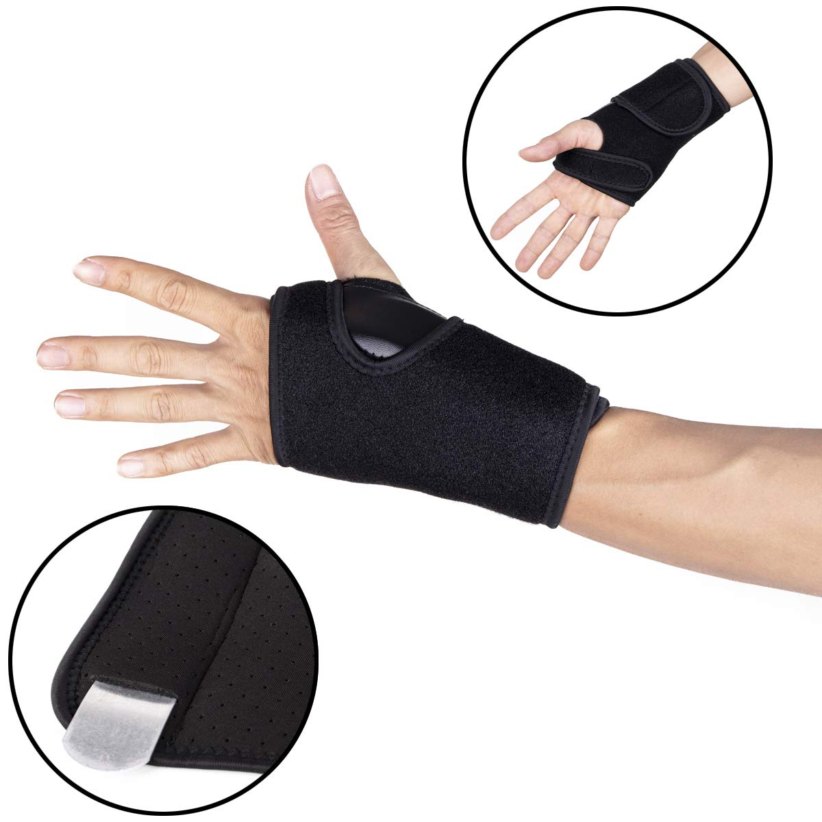 DODOING 1Pc/2Pcs Adjustable Wristband Steel Wrist Brace Hand Wrist Support Wrap with Removable Splint Fractures Carpal Tunnel Sport Sprain Wristbands Gym Fitness