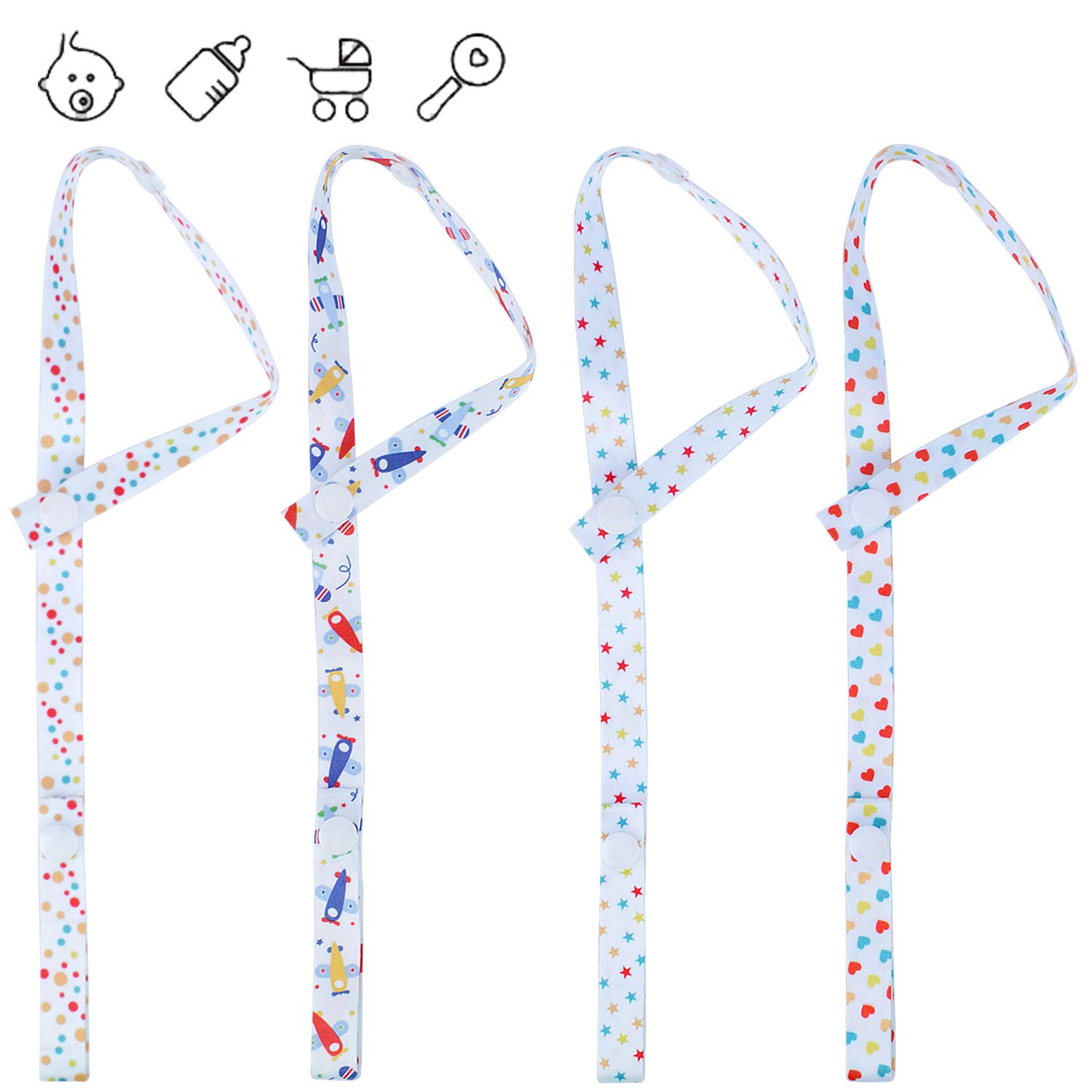4 Pieces BPA Free Baby Toy Straps Anti-Drop Bottle Sippy Cup Pacifier Holder Straps for Pram, Stroller and Pushchair euhuton
