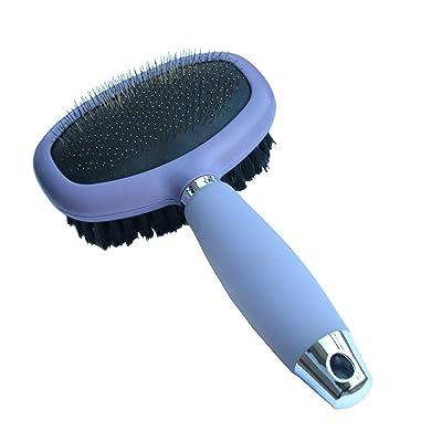 Gifaz cepillo para toelettatura Perros y Gatos doble uso con agujas finas de acero inoxidable y cepillo de cerdas suave
