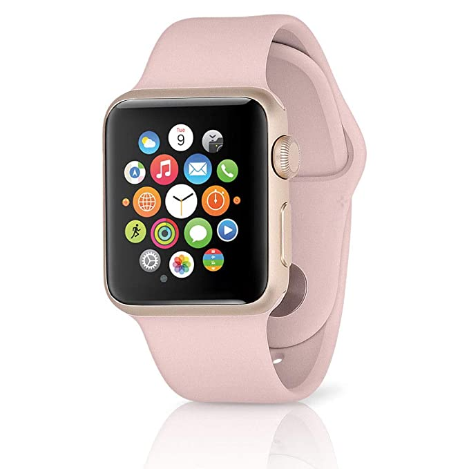 online store 3eb04 7d7d4 Apple Watch Series 3 (GPS), 42mm Gold Aluminum Case with Pink Sand Sport  Band - MQL22LL/A (Renewed)