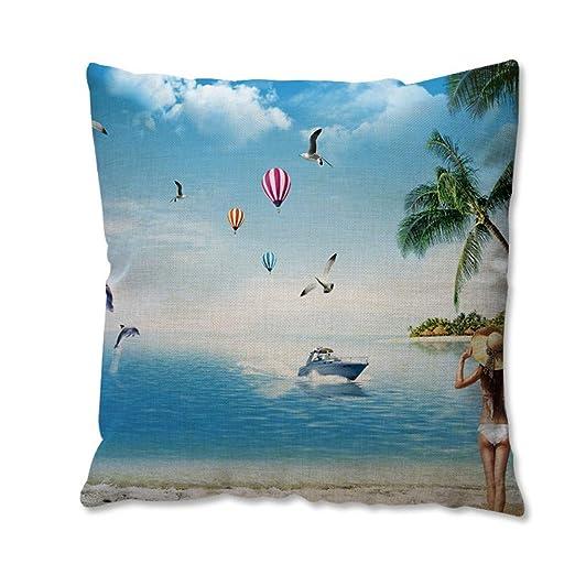 WDDGPZBZ Almohada Lino Almohada Creativo cojín Playa Belleza ...
