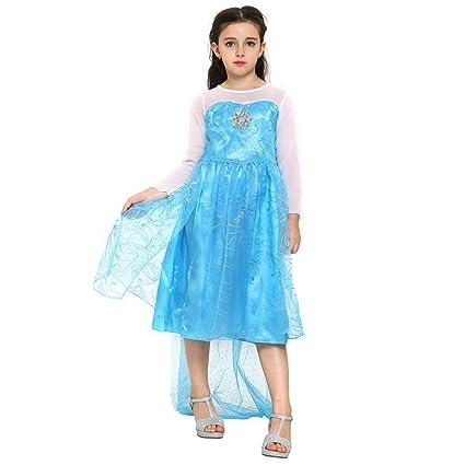 Katara 1008 Vestido de Princesa Elsa Disfraz Frozen para Niñas 9-11 Años, Azul