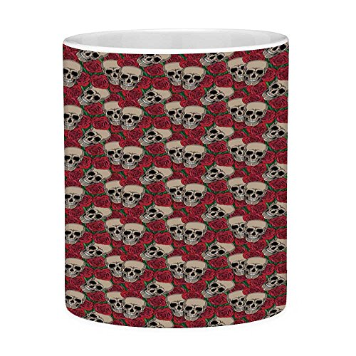 Lead Free Ceramic Coffee Mug Tea Cup White Rose 11 Ounces Funny Coffee Mug Graphic Skulls and Red Rose Blossoms Halloween Inspired Retro Gothic Pattern Vermilion Tan -