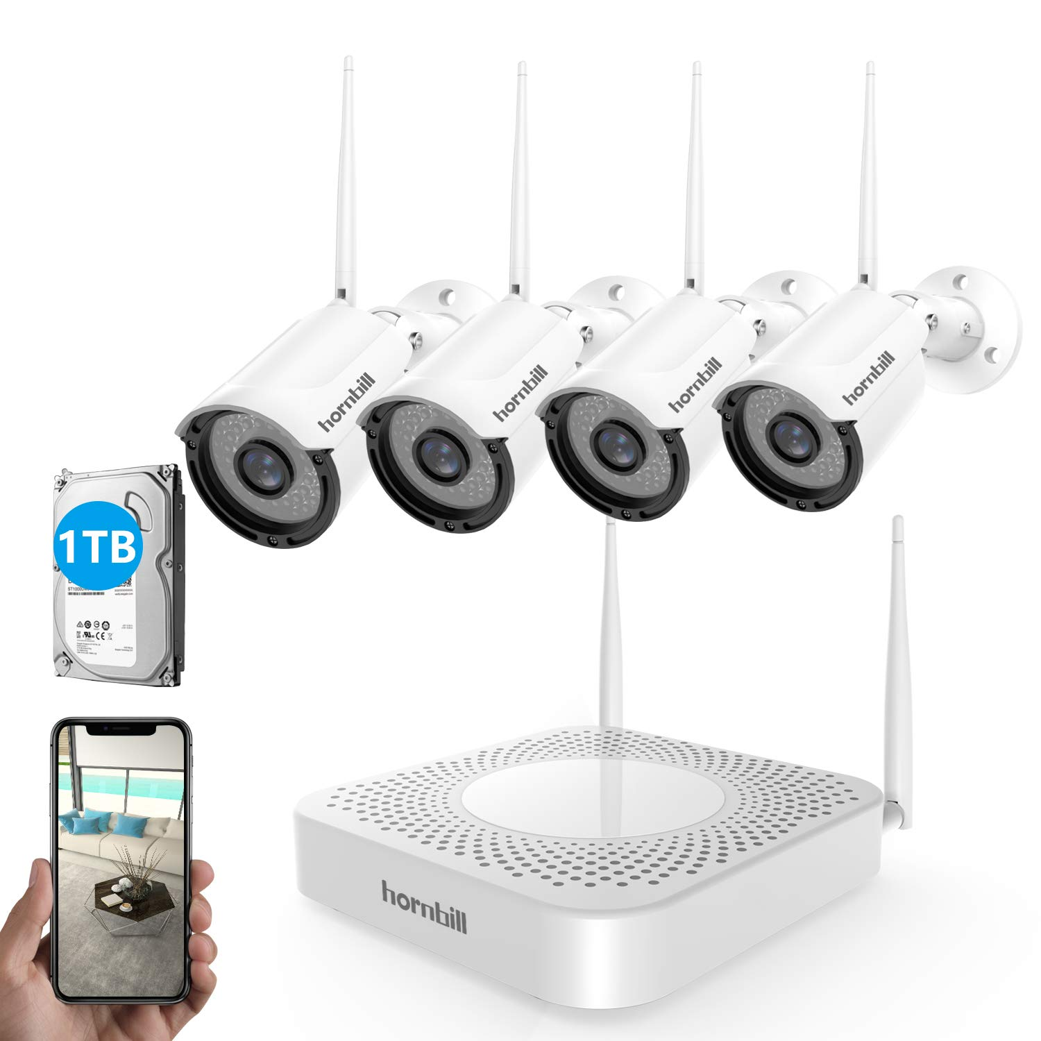 Wireless Security Camera System,Hornbill 1080P 8CH Wireless NVR Security System with 4PCS 1.3MP IP66 Waterproof Security Camera with Night Vision,Easy Remote View, Plug and Play with 1TB Hard Drive by hornbill
