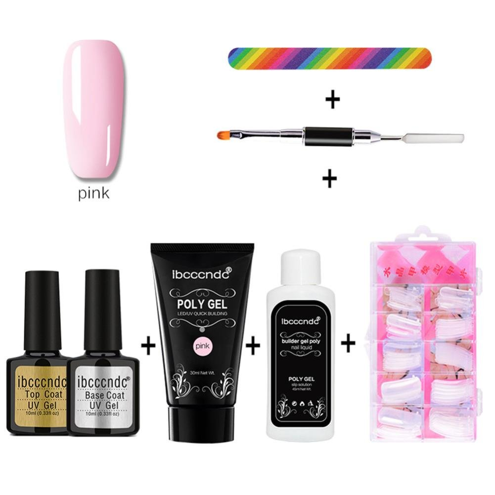 Wondere Nail Gel Extension Set, Nail Gel Quick Building Finger Extension Glue Nail Art UV LED Builder Enhancement Tool:Poly Gel,Double-end Dead skin push,Fake nails,Nail d (Pink)