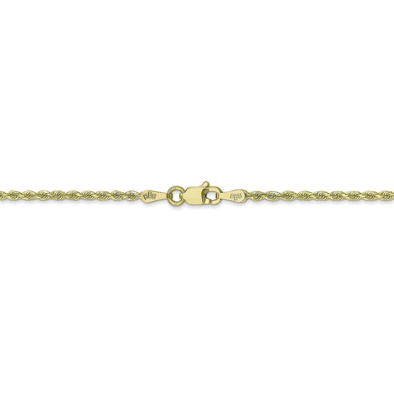 10k Yellow Gold 1.7mm Handmade Diamond-cut Rope Chain Bracelet 7-30