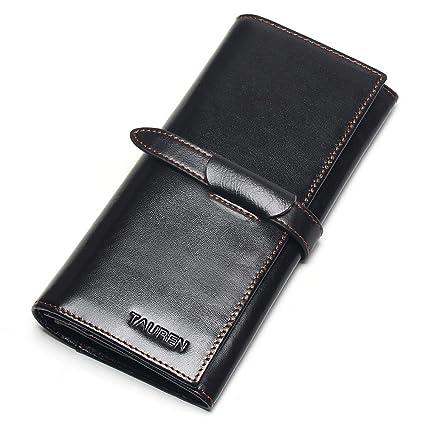 DASHJGGL Monederos Mujer Vintage Wallet Leather Ladies Long ...