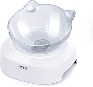 OYES Elevated cat Bowls,15°Tilted Raised Cat Food and Water Bowl Pet Feeder Bowls for Cat and Small Dog