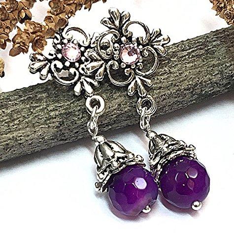 Purple jade earrings stud dangle earrings easter gifts bohemian purple jade earrings stud dangle earrings easter gifts bohemian earrings negle Image collections