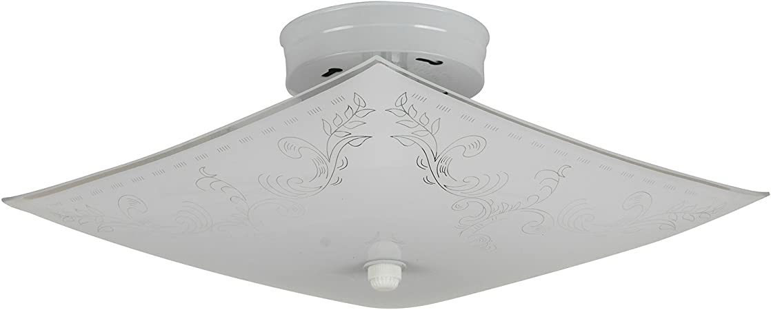 Sunlite 112kl 12 Inch Square Keyless 2 Lite Decorative Ceiling Fixture White Finish With Ornate White Glass Close To Ceiling Light Fixtures