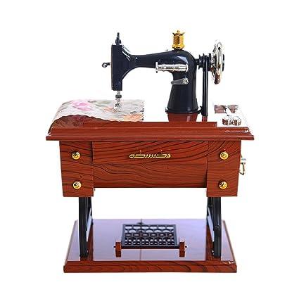 hunpta Vintage de estilo caja de música mini máquina de coser mecánica regalo de cumpleaños Decoración