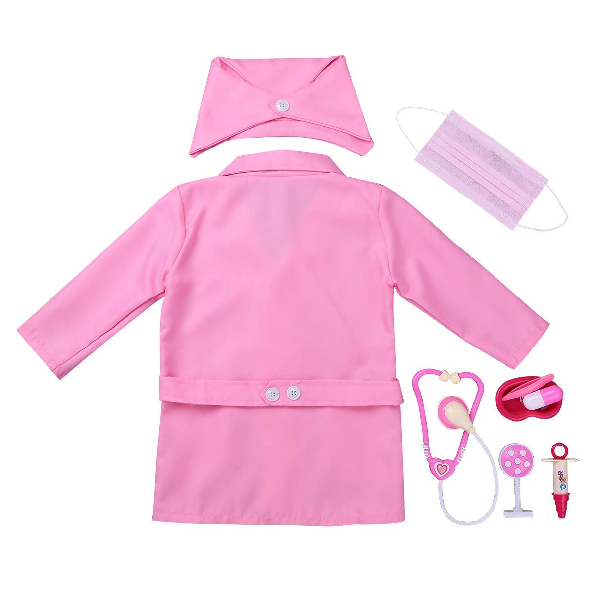 ACSUSS Child Unisex Boys Girls Hospital Doctor Lab Coat Doctor Nurse Cosplay Costumes with Tools Accessories