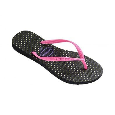 4cb0479a0 HAVAIANAS Womens Slim Fresh Black Pink (BR 39-40 UK 6-7 EU 41-42 ...