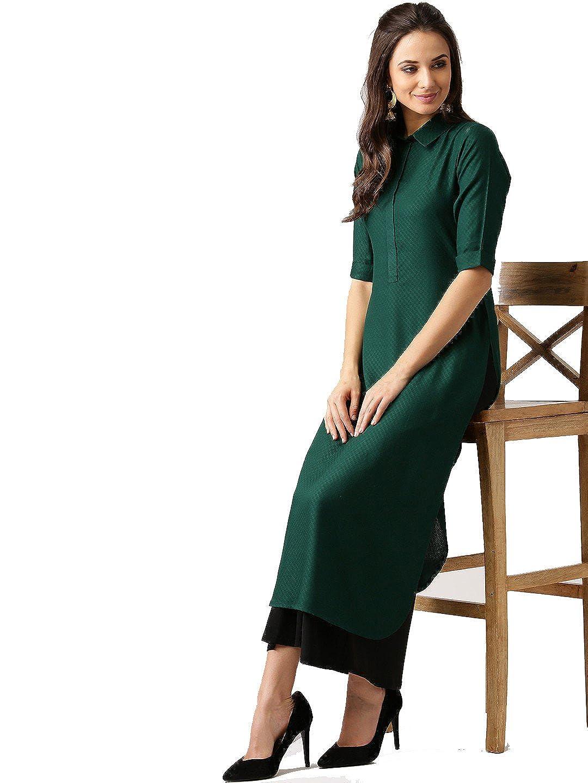 Leda Green Indian Women Designer Kurta Kurti Bollywood Tunic Ethnic Kurti