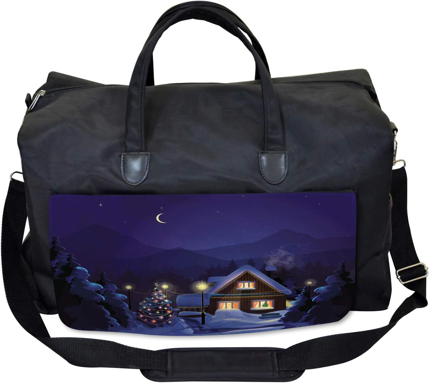 Winter Home and Tree Large Weekender Carry-on Ambesonne Christmas Gym Bag