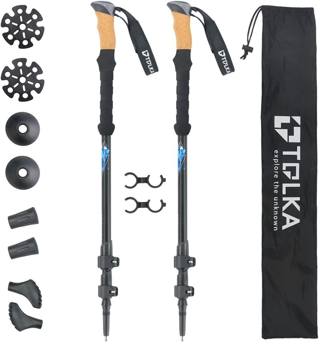 TOLKA Trekking Poles Hiking Poles Walking Stick with Anti-Shock and Quick Lock Collapsible Walking Poles Ultralight for Hiking, Camping, Backpacking, Walking