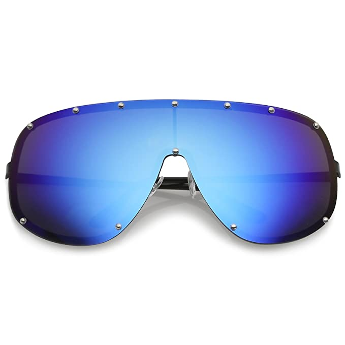 70d0f0a62e17e sunglassLA - Futuristic Oversize Rimless Colored Mirrored Mono Lens Shield  Sunglasses 75mm (Black Blue