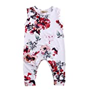 GRNSHTS Toddler Baby Girls Full Flower Print Long Romper (80 cm / 6-12 Months, White)