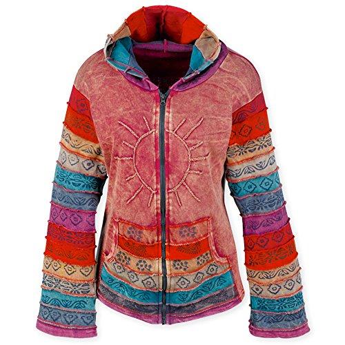 Women's Zipper Front Colorful Sun Hoodie - 100 % Soft Cotton - Large/Xl (Brand Hoodies Women)