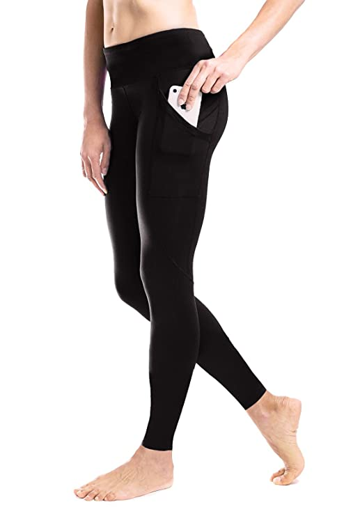 c6004ffd1c Yogipace Petite Women's Yoga Workout Running Leggings with Side Pockets  Black Size S