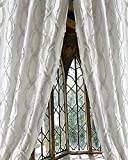 White trellis faux silk living room lined window curtain panel (52″W X 96″L) For Sale