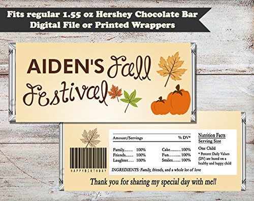 Fall Festival Halloween or Birthday Personalized Candy Bar Wrapper, Set of (Halloween Candy Bar Wrappers)