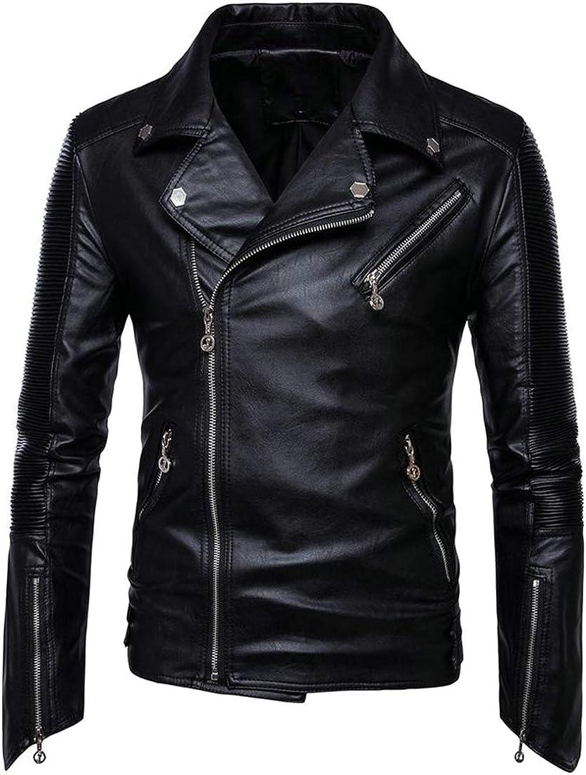 JSY Mens Long Sleeve Coat Lapel Full-Up Faux Leather Biker Outside Jacket