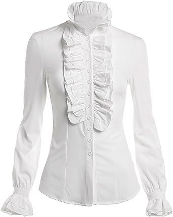 Himone Blusa de cuello alto para mujer, con volantes, diseño ...
