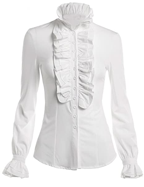 Himone Blusa de cuello alto para mujer, con volantes, diseño vintage multicolor blanco 46: Amazon.es: Ropa y accesorios
