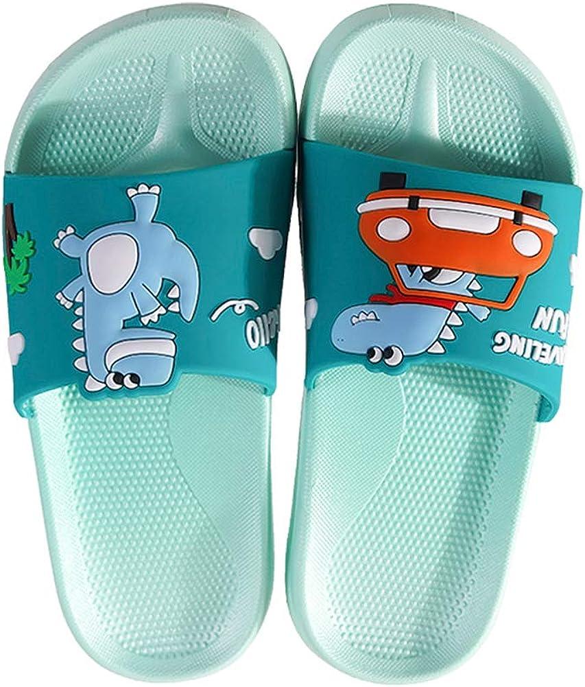 DESTURE Kids Slide Sandals, Boys Girls Cute Cartoon Beach Pool Slippers Dinosaur Shower Pool Toddlers Beach Water Shoes Little Kids