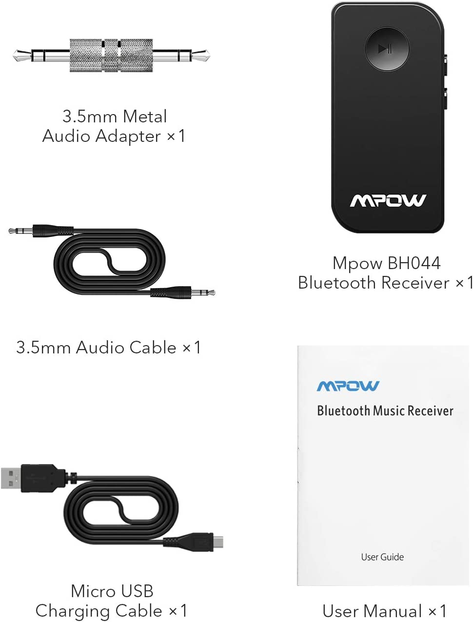 Streaming Maison//Kit Auto Voiture HiFi Mpow R/écepteur Bluetooth 5.0 Adaptateur Audio sans Fil Kit Mains Libres Voiture Deux Connexions avec Micro Int/égr/é et Sortie St/ér/éo 3,5mm pour Haut-parleurs
