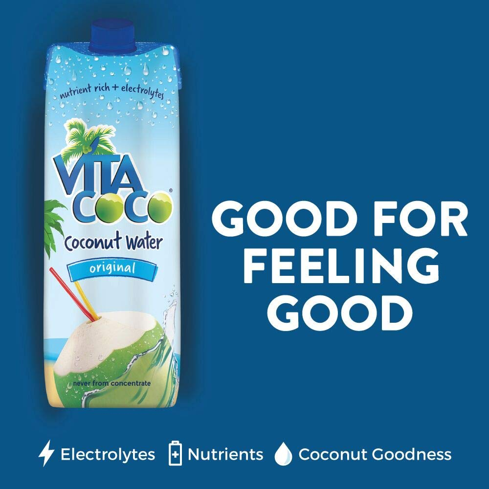 Vita Coco Coconut Water, Pure - Naturally Hydrating Electrolyte Drink - Smart Alternative to Coffee, Soda, and Sports Drinks - Gluten Free - 33.8 Ounce (Pack of 12) by Vita Coco (Image #5)
