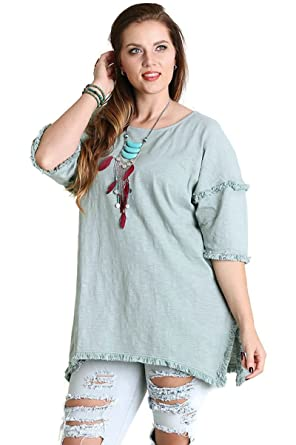3b8b1f8f95f Umgee Women s Fringed High Low Tunic Top Boho Chic Plus Size at Amazon  Women s Clothing store
