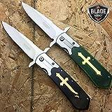 "Best Get Hidden Pocket Knives - 2 PC 9.5"" STAINLESS STEEL CELTIC CROSS SPRING Review"
