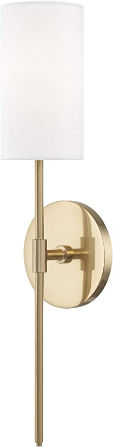 Mitzi H223101 Agb Olivia One Light Wall Sconce Aged Brass Finish With White Linen Shade