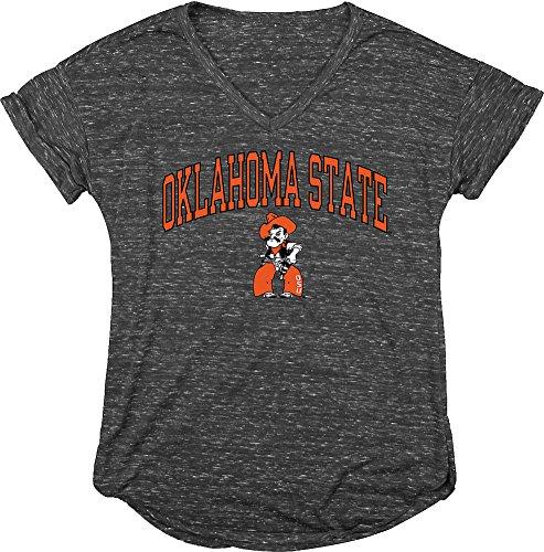Elite Fan Shop Oklahoma State Cowboys Womens Vneck Tshirt Charcoal   M