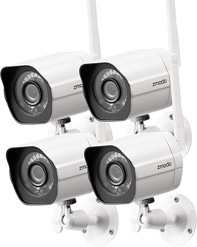 Zmodo Outdoor Security Camera (4 Pack), 1080p Full HD Wireless Cameras for Home Security with Night Vision, Cloud Service Available, White (ZM-W0002-4)   Amazon