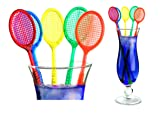 Tennis Racquet Cocktail Stirrers - Multi Color Party Swizzles (20)