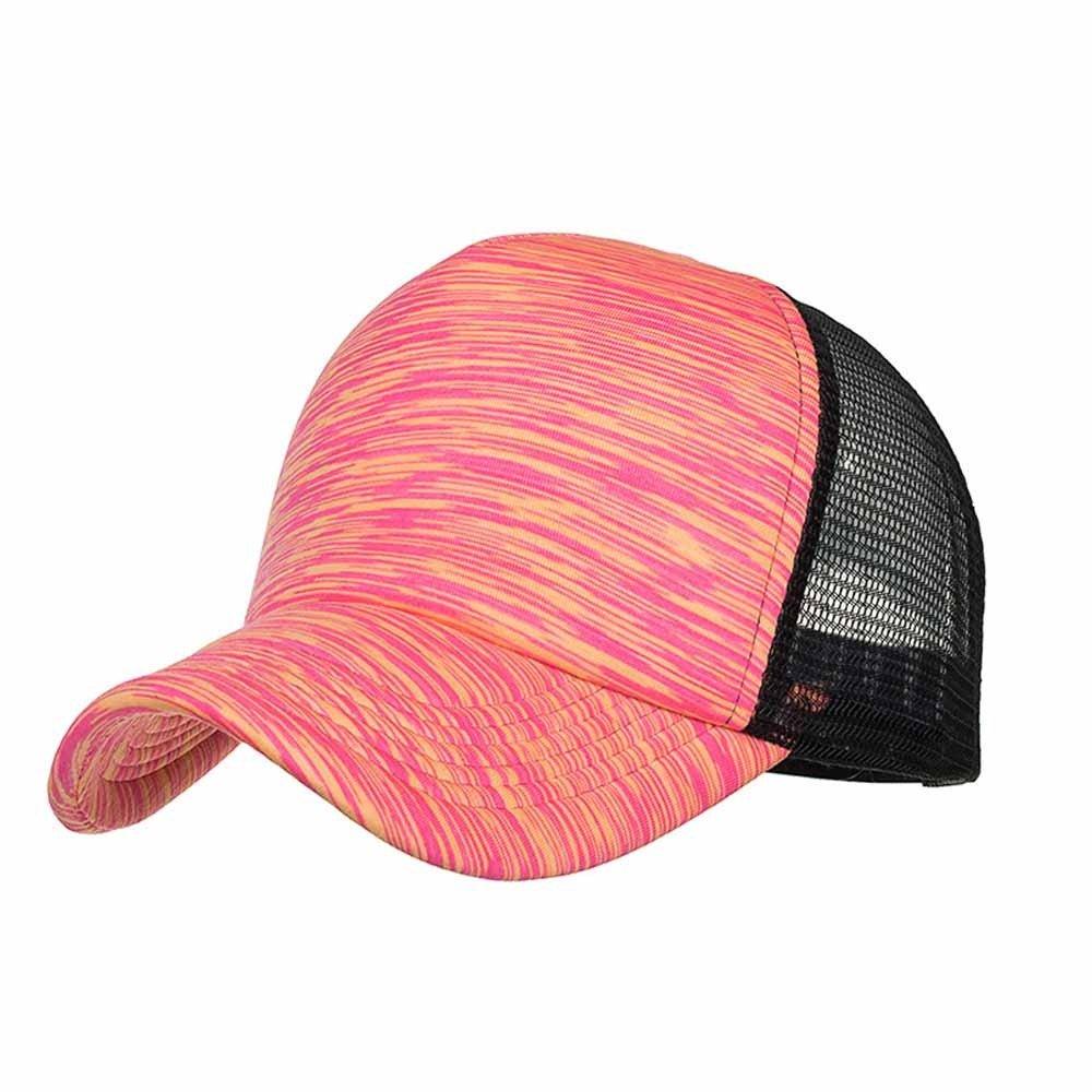 Sunyastor Summer Cap Camouflage Mesh Hats for Men Women Casual Hats Hip Hop High Bun Ponytail Adjustable Baseball Caps (A Hot Pink, One Size)