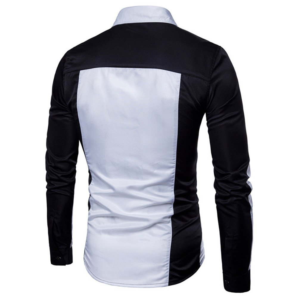 Long-Sleeve Oxford Formal Casual Suits Slim Fit Tee Dress Shirts Blouse Top ADESHOP Mens Long Sleeve Oxford Casual Shirt