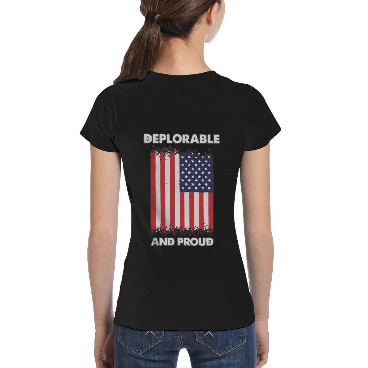 XS-XL Fashion Tunic Shirt Dress L6Nv4o@A Girls Short Sleeve Deplorable and Proud American Flag Shirts