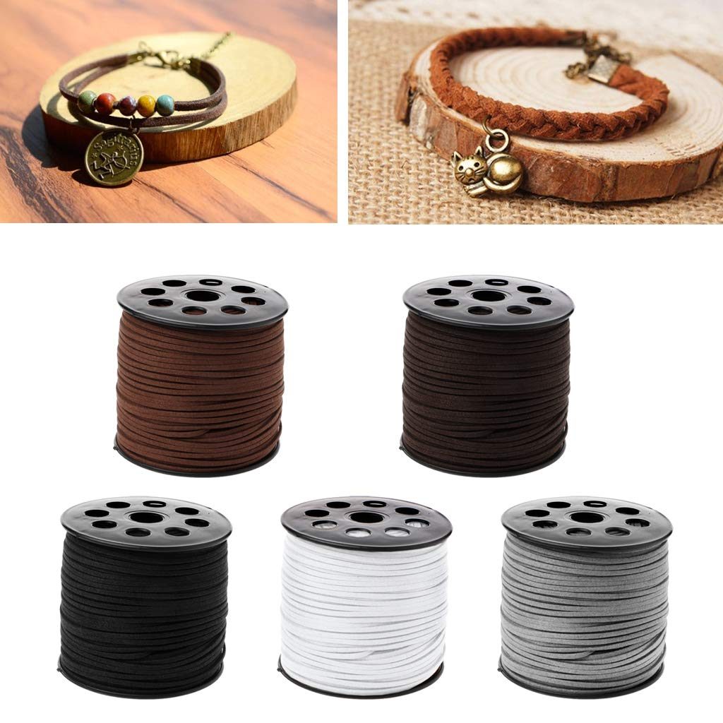 Lamdoo 3mm 90m//roll Faux Suede Cord DIY Leather String Rope Thread for Jewelry Making Dark Coffee