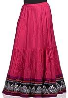 Dark Fuchsia Crushed Cotton Readymade Skirt