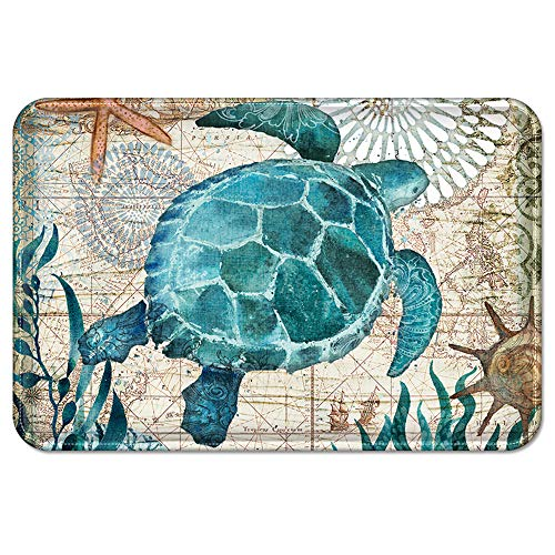 Uphome Sea Theme Memory Foam Bath Mat Blue Turtle Rubber Non Slip Bathroom Rugs Velvet Coastal Navigation Map Bath Rug for Shower Floors, Summer Ocean Life Bathroom Decorations, 20x32 (Rug Sea Turtle Bathroom)