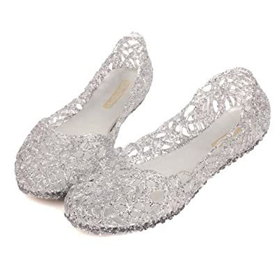bfac0cc6fbf18e Image Unavailable. Image not available for. Color  Womens Crystal Glitter Plastic  Jelly Hollowed Flat Sandals ...