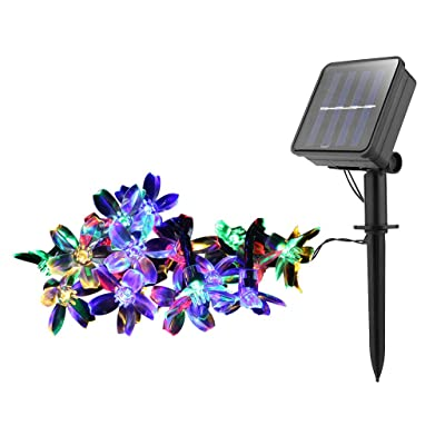 Beautly Outdoor Solar Stake Lights Solar Flower Lights with 20 Peach Blossom Flower, LED Solar Powered Lights for Patio, Yard Decoration, Bigger Flower and Wider Solar Panel (Multicolor) : Garden & Outdoor