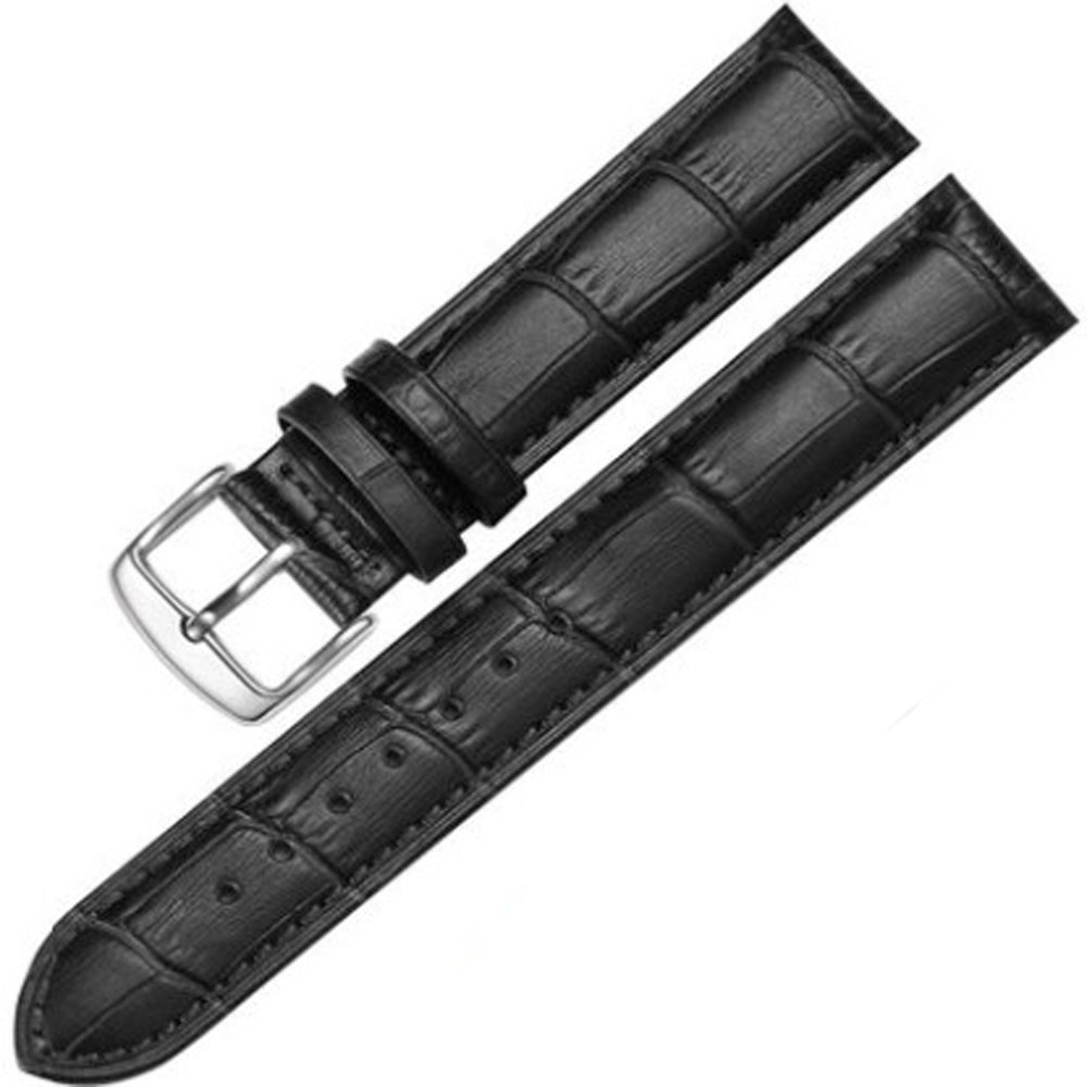 12-17mm New Genuine Leather Silver Clasp Wrist Watch Bands Strap Replacement for Ladies Womens (16mm, Black & Black Line) by Cover Plus (Image #1)