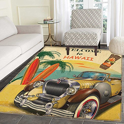 Retro Print Area rug Welcome to Hawaii American Pop Art Print with Aged Car Palms Tribal Mask and Surfboards Indoor/Outdoor Area Rug 3'x4' Multi by smallbeefly